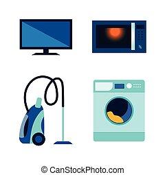 plano, conjunto, vector, electrónica, consumidor, icono