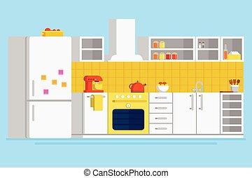 plano, conveniente, moderno, ilustración, vector, diseño, cocina