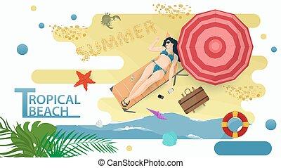 plano, costa, tropical, paraguas, mentiras, debajo, niña, vector, sol, vacaciones, estilo, orilla, playa, ilustración, vacaciones, lounger, tema, verano, traje de baño, biquini