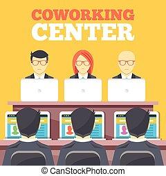 plano, coworking, centro, ilustración