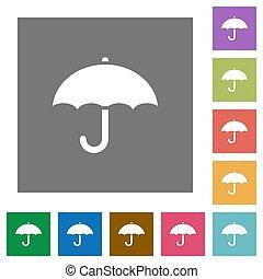 plano, cuadrado, paraguas, iconos