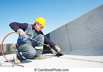 plano, cubierta, fieltro, techado, techo, trabaja