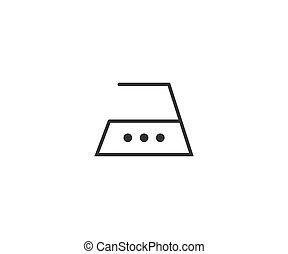 plano, cuidado, planchado, design., hierro, ilustración, vector, lavado, icon.