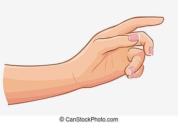 plano de fondo, aislado, mano, conmovedor, hembra, blanco