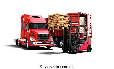 plano de fondo, aislado, paleta, descargar, carga, naranja, materiales, concepto, sombra, remolque, edificio, camión, render, blanco, 3d, rojo, carretilla elevadora, moderno