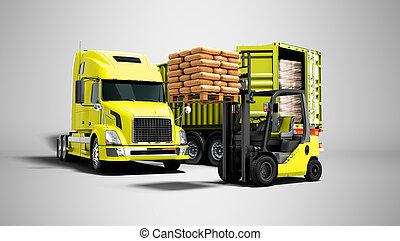 plano de fondo, aislado, paleta, descargar, carga, naranja, materiales, concepto, sombra, remolque, edificio, amarillo, camión, render, gris, 3d, carretilla elevadora, moderno