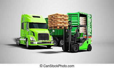 plano de fondo, aislado, paleta, descargar, carga, naranja, materiales, concepto, sombra, remolque, edificio, camión, render, gris, 3d, verde, carretilla elevadora, moderno