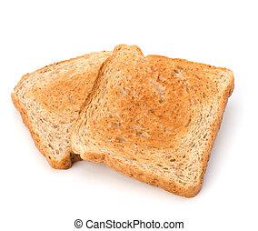 plano de fondo, aislado, tostada, crujiente, rebanada, bread, blanco