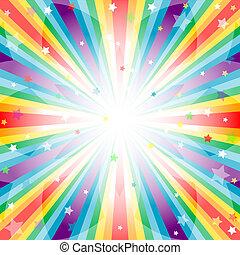 plano de fondo, arco irirs, resumen, rayos