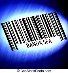 plano de fondo, barcode, futurista, azul, -, banda, mar