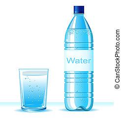 plano de fondo, botella, ilustración, cristal del agua, limpio, texto, blanco, .vector