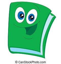 plano de fondo, carácter, vector, mascota, ojos grandes, aislado, ilustración, lindo, verde, objeto, blanco, papel