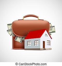 plano de fondo, cartera dinero, casa
