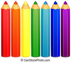 plano de fondo, coloreado, pencils.