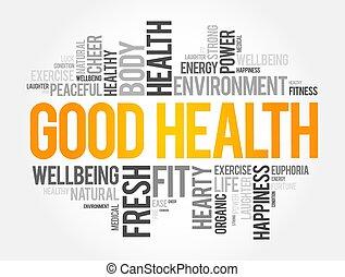 plano de fondo, concepto, palabra, bueno, nube, collage, salud
