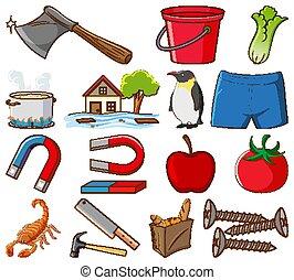 plano de fondo, conjunto, alimento, grande, blanco, diferente, otro, artículos