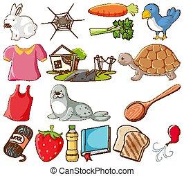 plano de fondo, conjunto, animales, blanco, grande, diferente, objetos, otro