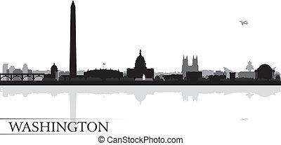 plano de fondo, contorno, ciudad, silueta de washington