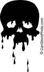 plano de fondo, cráneo, vector, gotas, silueta, logotipo, aislado, ilustración, objeto, blanco, hecho, negro
