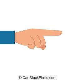 plano de fondo, dedo que señala, mano, blanco