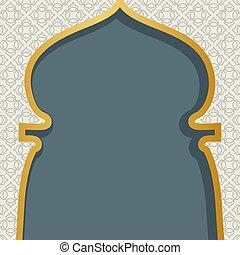 plano de fondo, design., ventana, islámico, card., kareem, arte, saludo, ramadan, árabe