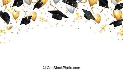 plano de fondo, educación de la universidad, vector, negro, grado, tapas, graduation., realista, globos, confeti, bandera, escuela, vuelo, transparente, diplomas.