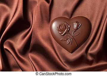 plano de fondo, formado, corazón, aislado, chocolates, blanco