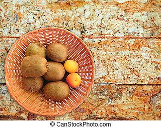plano de fondo, fruta, de madera