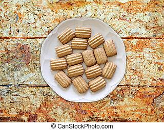 plano de fondo, galletas, de madera
