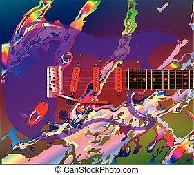 plano de fondo, guitarra, psicodélico