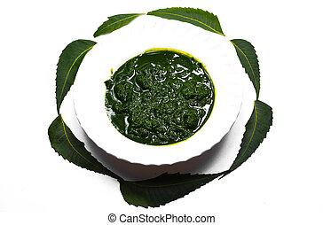 plano de fondo, hojas, blanco, neem, aislado, pasta, medicinal