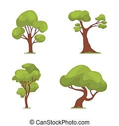 plano de fondo, ilustración, aislado, conjunto, árbol, blanco, vector