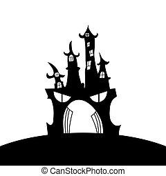 plano de fondo, ilustración, castillo, aislado, silhouette., blanco, vector
