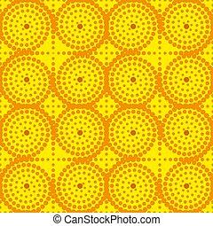 plano de fondo, imagen, mandalas, amarillo, naranja, vector, seamless