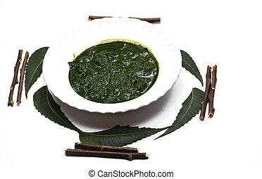 plano de fondo, indica, azadirachta, o, hojas, neem, blanco, aislado, pasta, ayurvedic, medicinal