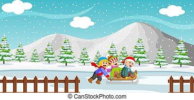 plano de fondo, juego, paseo, montaña, niños, feliz, invierno, sleigh