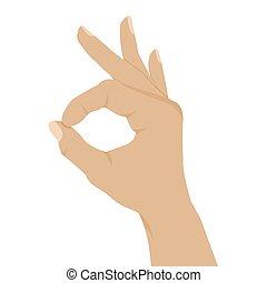 plano de fondo, mano, aprobar, aislado, blanco, señal