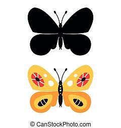 plano de fondo, mariposa, aislado, icono, silhouette., hermoso, blanco, vector