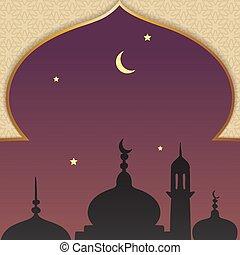plano de fondo, medios, muhammad, noche, plantilla, viaje, mi'raj, profeta, al-isra, wal