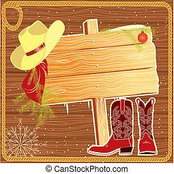 plano de fondo, navidad, cartelera, vector, vaquero, marco, hat.