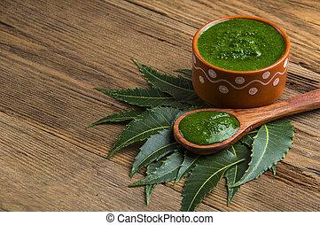 plano de fondo, neem, medicinal, hojas, pasta, de madera