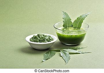 plano de fondo, neem, medicinal, hojas, pasta, jugo, verde
