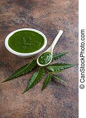 plano de fondo, neem, medicinal, hojas, pasta, piedra