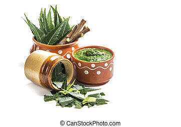 plano de fondo, neem, medicinal, hojas, ramitas, pasta, blanco