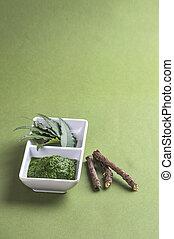 plano de fondo, neem, medicinal, hojas, ramitas, pasta, verde