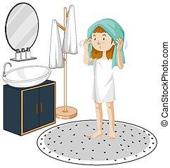 plano de fondo, niña joven, cuarto de baño, blanco, elementos, muebles