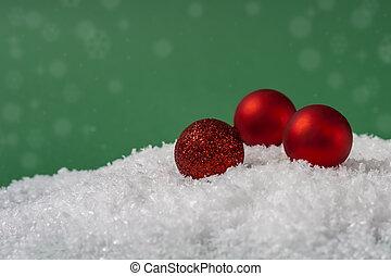 plano de fondo, nieve, espacio, navidad, pelotas, rojo verde, copia