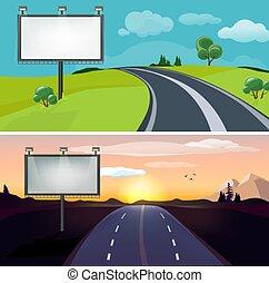 plano de fondo, país, calzada, camino, noche, billboard., tarde, vector, carretera, mañana, día, blanco, landscapes.