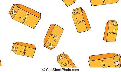 plano de fondo, paja, vector, leche, bebida, estilo, o, caricatura, ilustración, aislado, jugo, caja, blanco