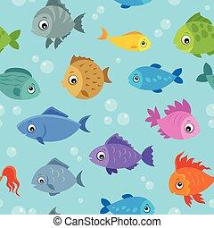 plano de fondo, peces, 3, seamless, estilizado